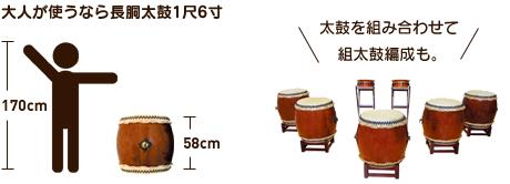 大人が使うなら長胴太鼓1.6尺